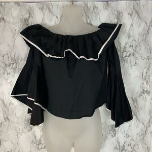 ZARA Black White Ruffle Off Shoulder Top Shirt